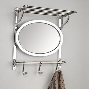 Clair WandgarderobeAluminium mit Spiegel und Hutablage