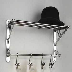 Clair wandkapstok aluminium met hoedenrek