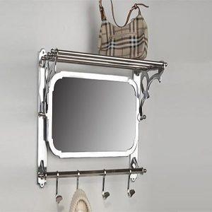 Clair 511 Wandgarderobe Aluminium mit Spiegel und Hutablage