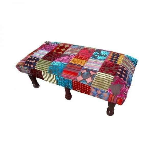 patchwork hocker rechthoekig op pootjes global furniture webshop. Black Bedroom Furniture Sets. Home Design Ideas