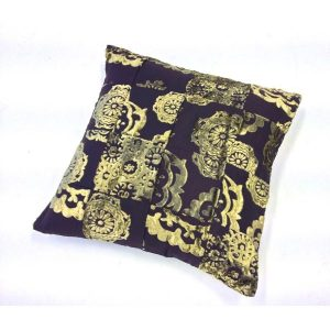 pillow set patchwork gold threat and brown