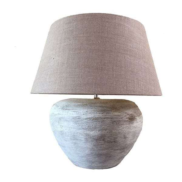 Vintage pottery table lamp with shade