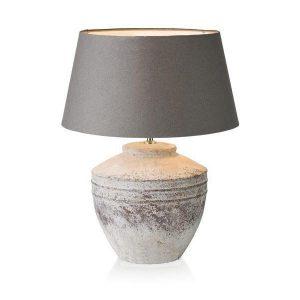 Vintage aardewerk tafellamp met lampenkap bruin