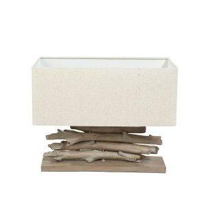 Alcamo Tafellamp hout/takken met kap - Tischleuchte holtz mit lampenschirm