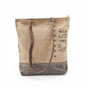 Bag studs handtas canvas en leer