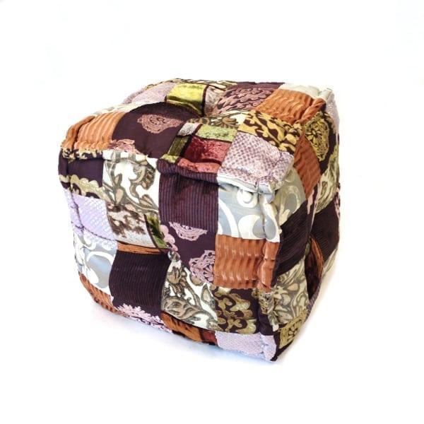 patchwork poef vierkant goud met bruin global furniture webshop. Black Bedroom Furniture Sets. Home Design Ideas