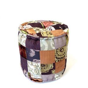 Patchwork ottoman round gold with brown