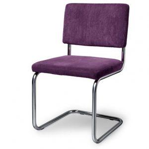 Easy retro design stoel met chromen slede en rib stof DYYK