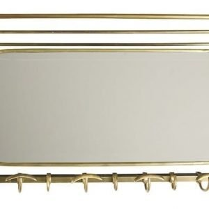 Pewter wall coat rack with mirror