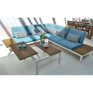 pebble beach loungeset hoekbank tuin teak all weather beewett kussens