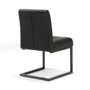 Sophie industrial swaing dining chair vintage artificial leather black back