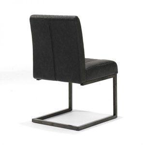 Sophie stoel industrieel slede metaal vintage kunstleer zwart back