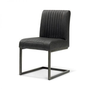Sophie industrial swing dining chair vintage artificial leather black