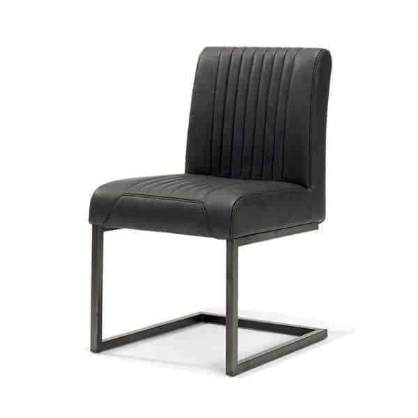 Sophie stoel met slede industriële stoer vintage kunstleer zwart