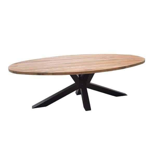 Andros ovale tafel eiken met spinpoot kruispoot van staal for Ovale tafel