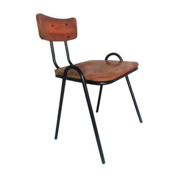 Retro Vintage School Chair Wood Metal Frame
