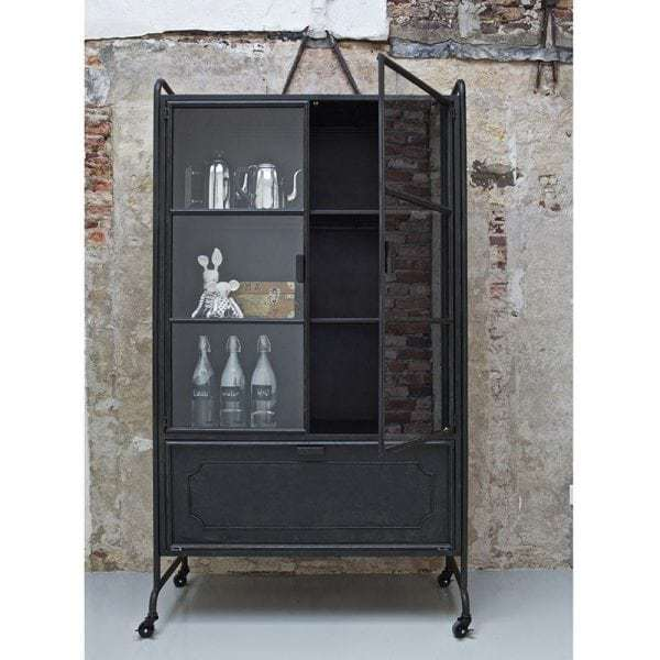Steel Storage Industrial Glass Cabinet Metal Black On Wheels From
