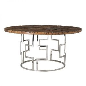 9864 Kensington round dining table old wood nickel Richmond