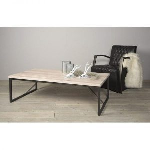 Evia solid oak coffee table whitewash with metal legs ambiance