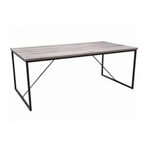 Evia massief eiken tafel white wash metalen poten