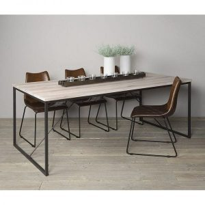 Evia solid oak dining table whitewash with metal legs ambiance