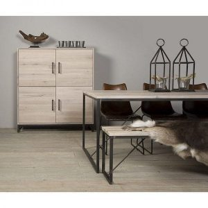 Evia solid oak white wash furniture industrial style metal accents