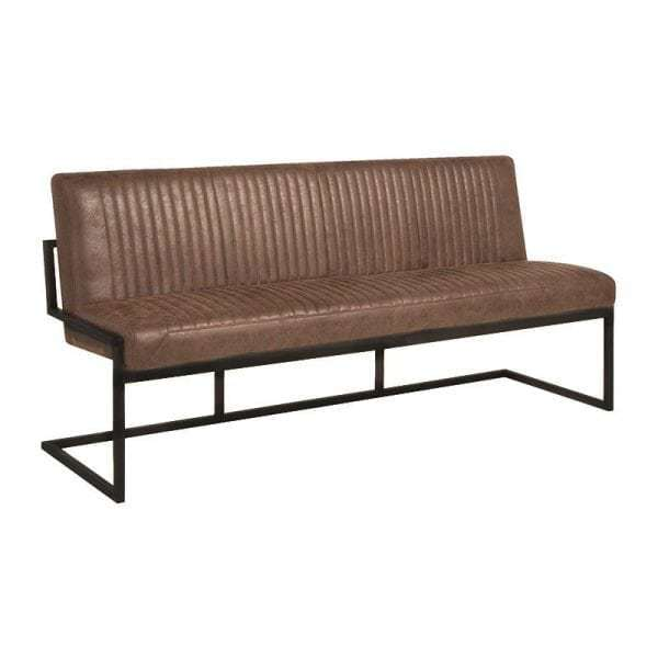 Fantastic Ferro Industrial Dining Bench In Vintage Leather Look Fabric Ibusinesslaw Wood Chair Design Ideas Ibusinesslaworg