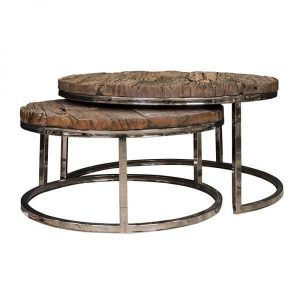 9867-Kensington round Coffee table set old wood from Richmond