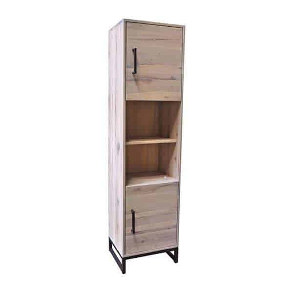 Evia solid oak cupboard small whitewash with metal legs - Global ...