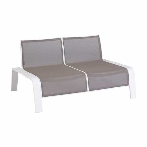 Ezee 2 zits lounge bank wit aluminium en textileen
