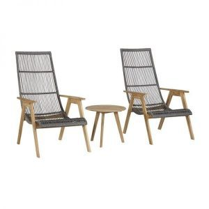 Exotan Mabel tete a tete retro lounge chairs with side table teak