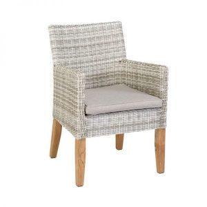Arosa wicker and teak dining garden armchair by Exotan