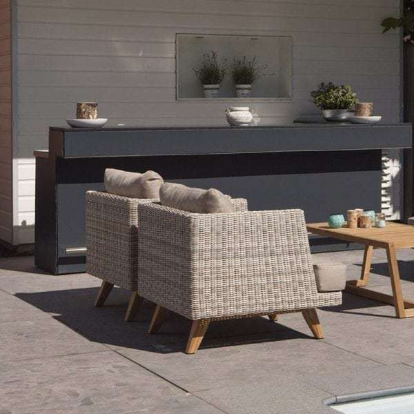 Arosa wicker en teak lounge tuin armstoel global furniture webshop - Lounge sfeer ...