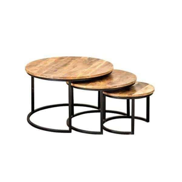 rhonda beistelltisch set rund holz metall gestell global furniture nl. Black Bedroom Furniture Sets. Home Design Ideas