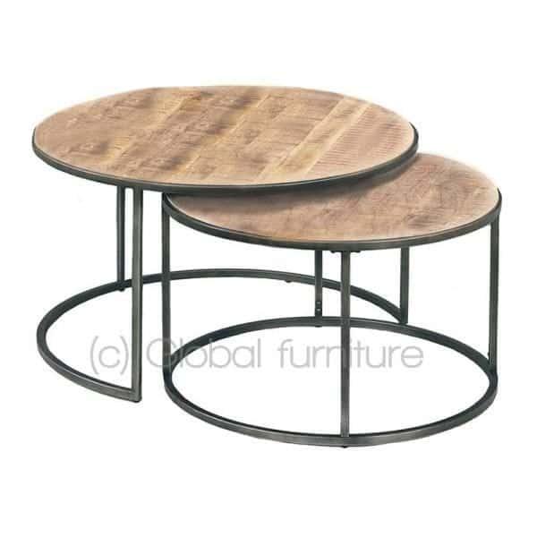 Geliefde Nora bijzettafel-salontafel set rond hout metaal industrieel @RG28
