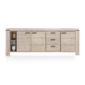 Kaprun dressoir 220 cm acacia Tibet grey, op ambachtelijke wijze vervaardigd uit massief en gefineerd acacia met details in grijs gelakt MDF. Tibet grey is de kleur van nu, en zal zeker niet misstaan in uw woonkamer of werkplek