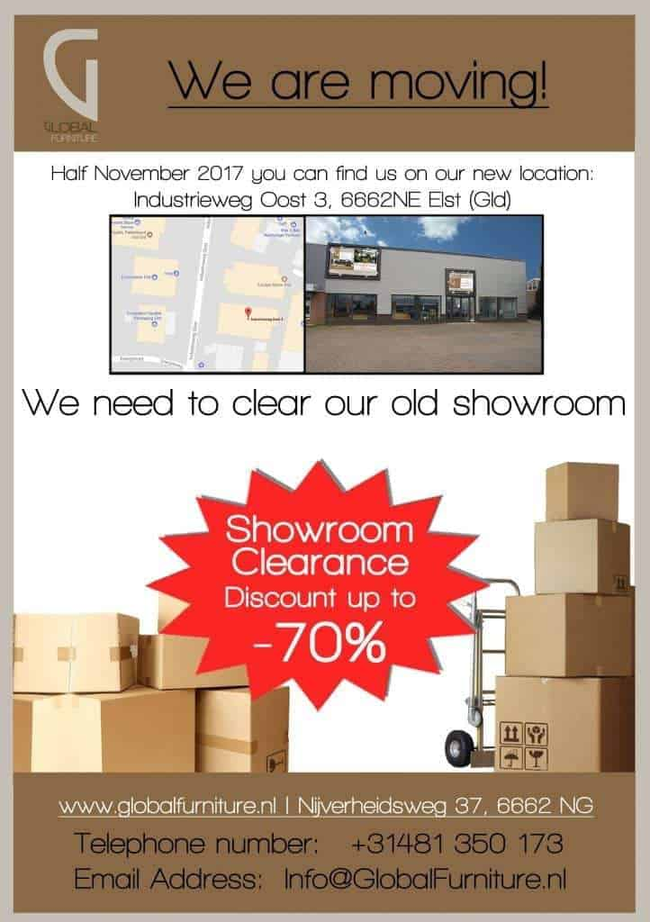 Global furniture Elst is moving to a new bigger location, showroom clearance sale !