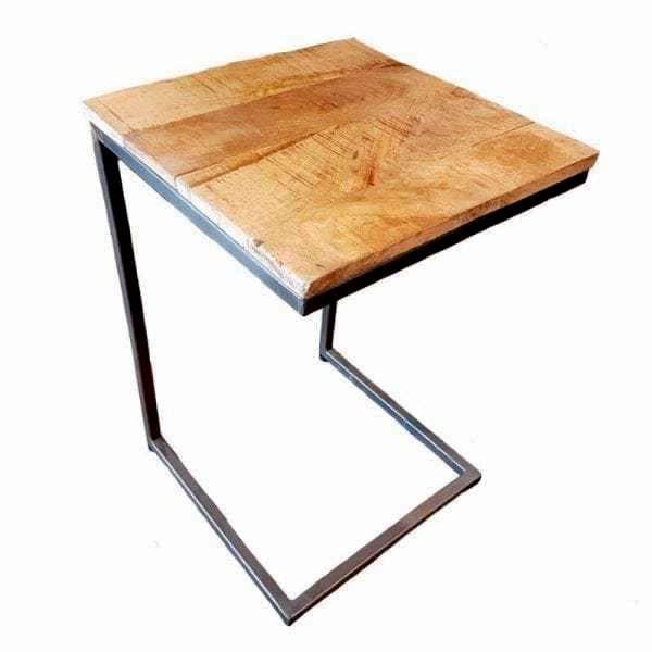2 Houten Tafeltjes.Nora Industriele Laptop Tafel Van Hout En Metaal