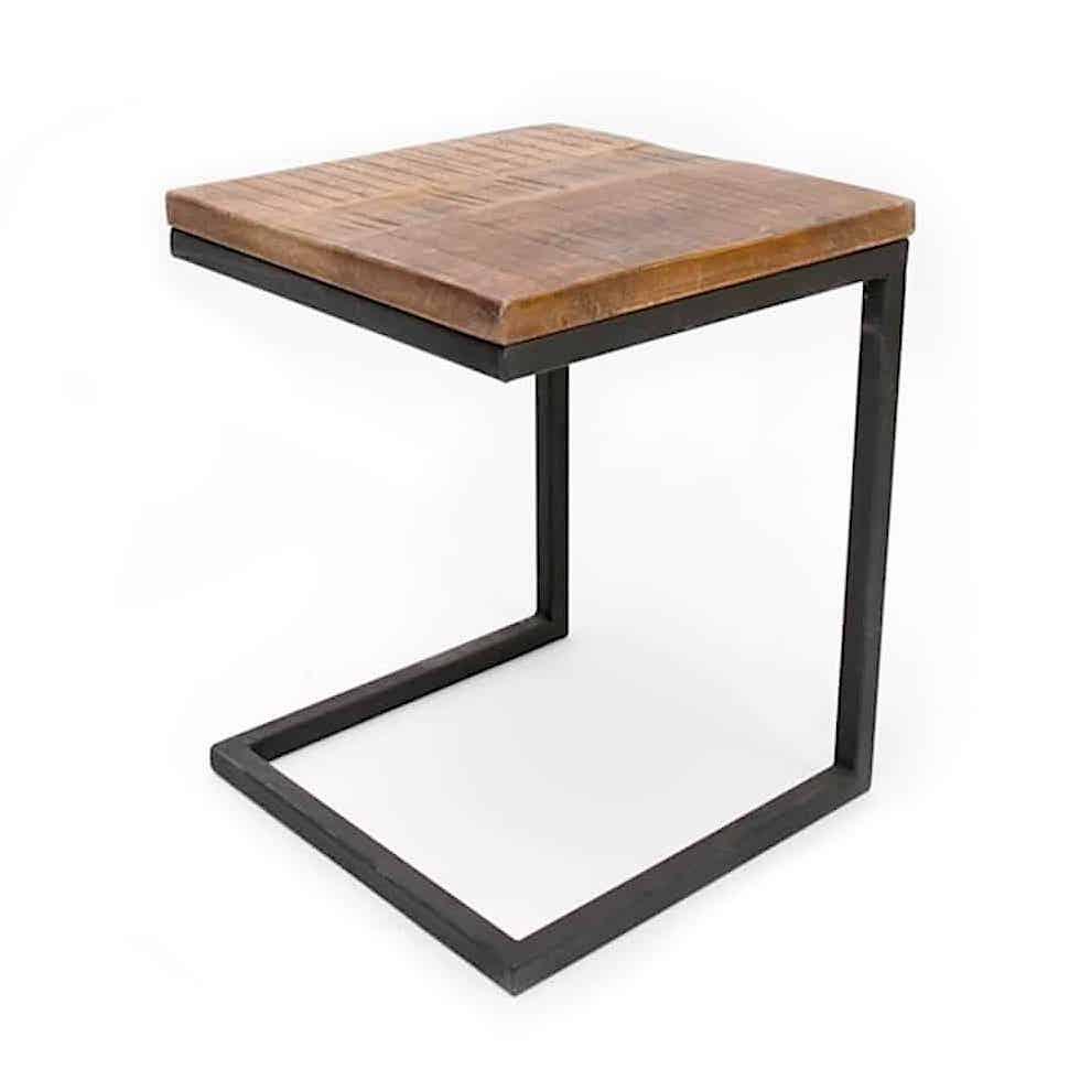 Side Table Metaal.Nora Industrial Laptop Table Of Wood And Metal Global Furniture Webshop