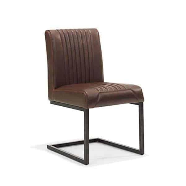 Sophie stoere industriële stoel met slede in vintage kunstleer