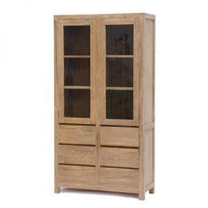 Corona vitrine kast 2 deur van onbewerkt teak hout