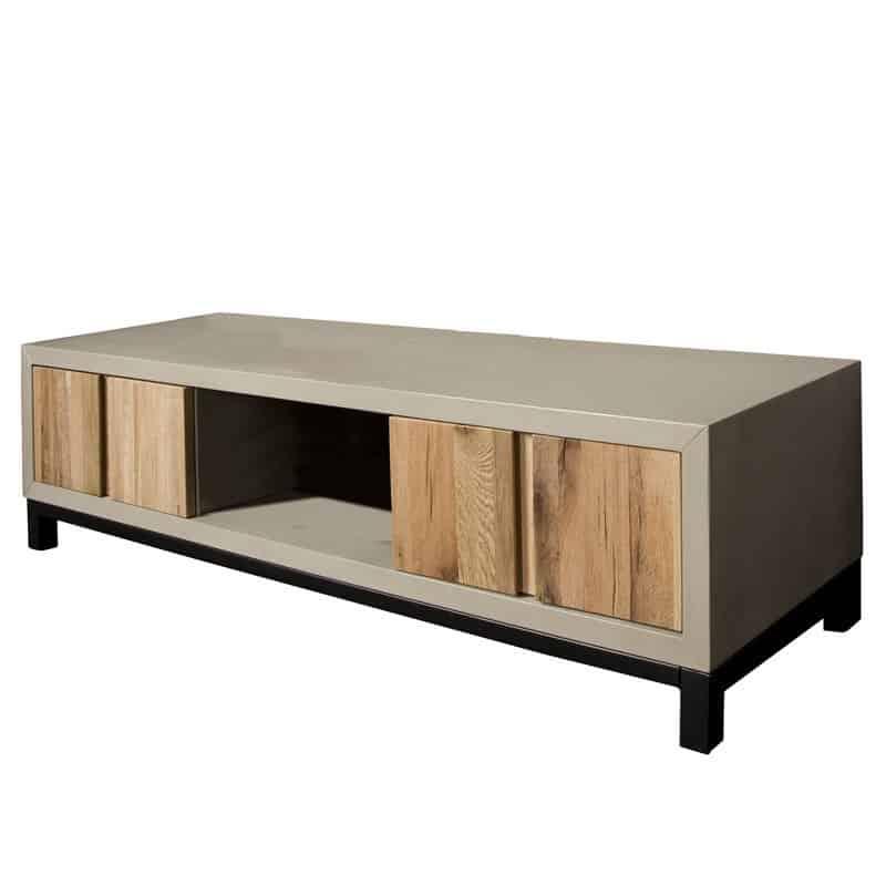 Tv Meubel Eiken Massief.Max Tv Meubel Massief Eiken Met Betonlook Global Furniture Webshop
