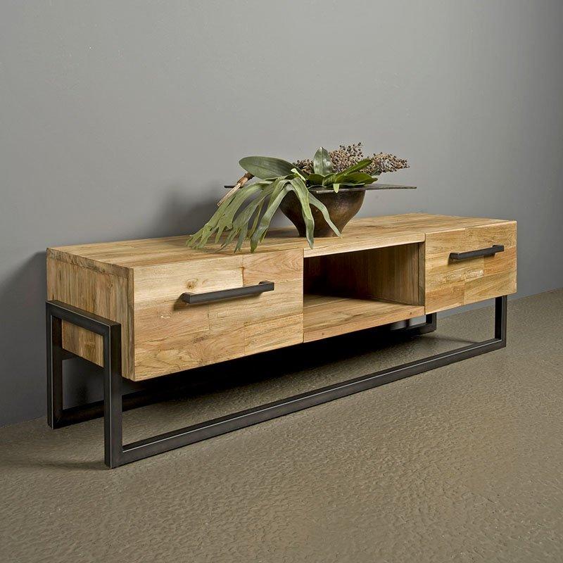 Potenza Tv Cabinet Teak Metal 156 Cm Global Furniture Webshop