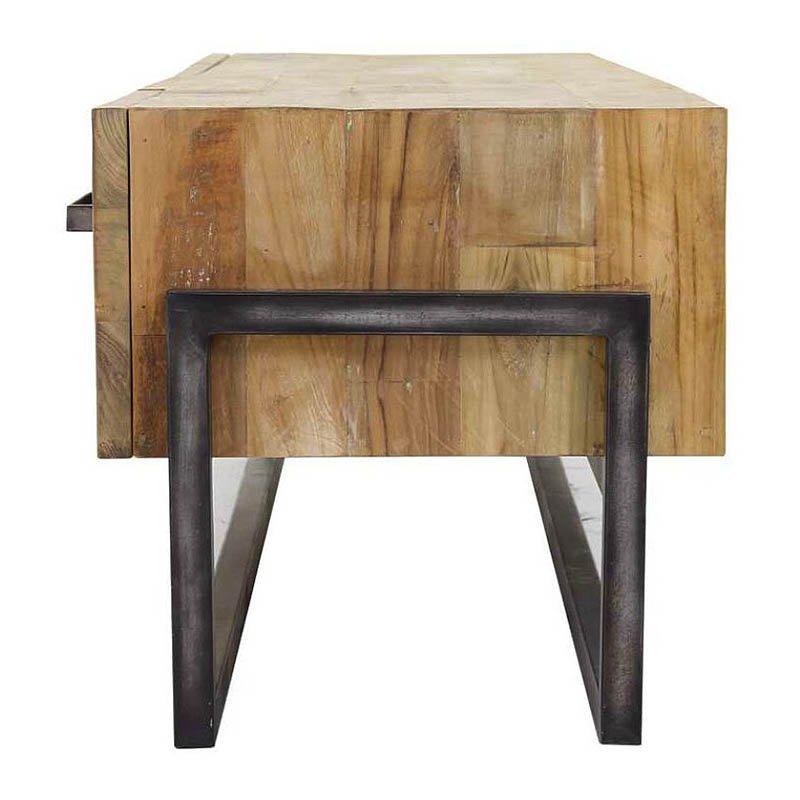 Teak Tv Kast.Potenza Tv Cabinet Teak Metal 156 Cm Global Furniture Woonwinkel